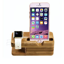 Bamboo Smart Watch Charger Holder Cellphone Charging Dock Wooden Stand Station