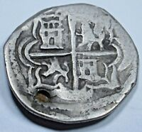 1600s Spanish Silver 1 Real Cob Piece of 8 Coin Colonial Pirate Treasure Coin