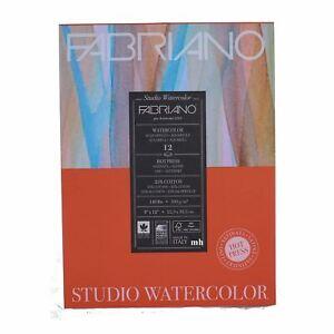 """Fabriano Hot Press 9""""x12"""" Watercolour Studio Watercolour Paper pad 12 sheets 300"""