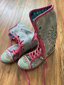 Naartjie HighTop Fold Down Happy Gray Shoes Boots Embroidery Gems Youth Size 1