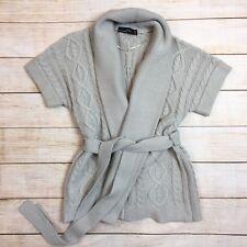 e310a5d63a205b ZARA Pale Grey Short Sleeve Belted Cardigan Sweater Open Front Womens M