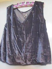 Grey Crushed Velvet Look V Neck Sleeveless Top in Size S / Size 10 - NWT