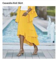 Ashro Yellow Ruffle Hi Low Cassandra Knit Skirt Size M L XL 1X 2X 3X PLUS NEW