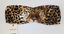 Topshop Brown Animal Leopard Face Print Bandeau Stretch Summer Top BNWT UK 6 8