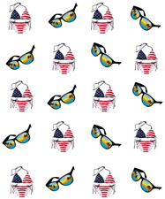 USA American Flag Bikini  Waterslide  / Water Transfer Nail Decals/ Nail Art