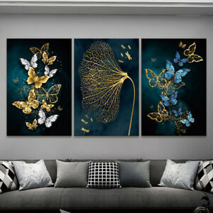 Blue Gold Butterfly Canvas Painting Wall Poster Art Prints Mural Home Room Decor