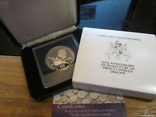 More details for 1979 turks and caicos island prince of wales silver proof 10 crowns coin box/coa