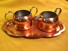Vintage Coppercraft Guild Cream & Sugar w/ Tray /Taunton, Mass