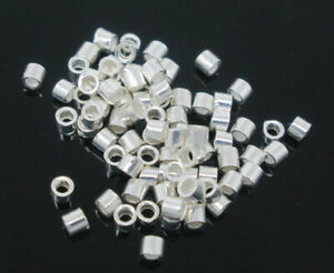 25pcs 1.5mm Sterling silver TUBE crimp beads TINY stoppers jewellery findings