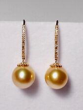 11mm golden South Sea pearl dangle earrings,diamonds,solid 14k yellow gold