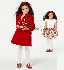 Blueberi 6 - 7 yrs. old Red Velvet Coat And White Plaid Dress Sets ~ New