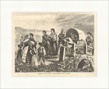 Zigeuner auf dem Schub Limmer Wanderung Planwagen Reise Kinder Holzstich E 6327