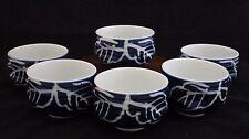 Vintage Set of 6 Blue Cobalt Fine Porcelain Tea Cups Made in Japan