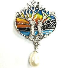 ART NOUVEAU PLIQUE A JOUR ENAMEL TREE OF LIFE SUNSET PENDANT BROOCH 925 SILVER
