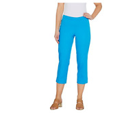 Isaac Mizrahi Live! 24/7 Stretch Petite Size 6 Pull-On Crop Pants Turquoise Blue