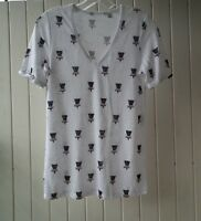 New CR Country Road  Women's Cotton-linen Pattern T-Shirt Size XXS,XS