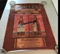 Vintage 1980s  Budweiser Beer Longneck 20 x 30 Man Cave Bar Poster