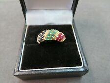 14K Solid Yellow Gold Ring Size 6 Natural Ruby Sapphire Emerald Band