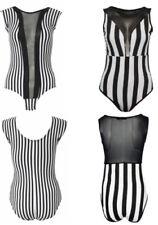 Maglie e camicie da donna body neri a fantasia righe