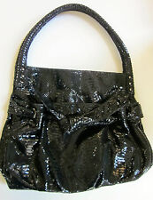 Perlina Shiny Black Embossed Croc Leather Bow Bag Purse Hobo Handbag EUC