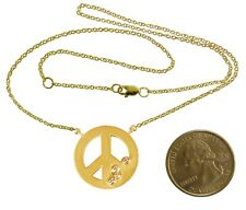 NEW: Peace Symbol Pendant Necklace-18K Gold & Abundance Overflow Diamond Dots