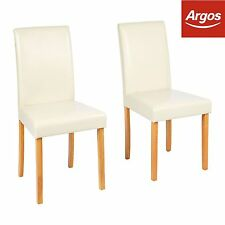 Home Pair of Oak Stain Cream Leather Effect Mid Back Chairs -from Argos on EBAY