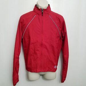 Novara Mens Conversion Bike Jacket Small Red Zip Off Sleeve Reflective Cycling