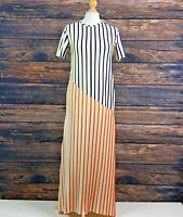 ZARA W&B Collection Cream Blue Orange Striped Short Sleeve Maxi Dress Size Small