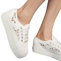 Superga NWT White Embroidered Lace Platform Tie Sneakers Size 39 8 8.5B $110