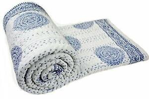 New Indian Cotton Kantha Quilt Hand Block Print Bedding King Bedspread Coverlet