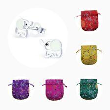 Childrens Girls 925 Sterling Silver Elephant Stud Earrings - Pouch