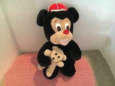 Chinda Black Bear With Red Hat And Teddy Bear Stuffed Plush