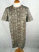 Ladies Dress Size L 12 14 ZARA Snakeskin Print Shift Mini Brown Party Evening