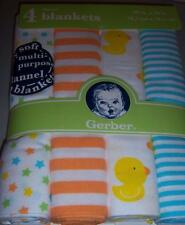 4 New Gerber Flannel Receiving Blankets, Duck, Baby Shower