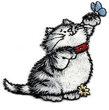 CAT & BUTTERFLY - KITTEN - ANIMALS - IRON ON EMBROIDERED APPLIQUE PATCH