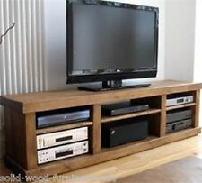 SOLID WOODEN BENCH ENTERTAINMENT UNIT TV STAND RUSTIC PLANK PINE FURNITURE