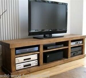 NEW SOLID WOOD BENCH ENTERTAINMENT UNIT TV STAND RUSTIC PLANK PINE FURNITURE