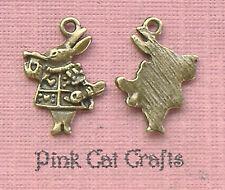 10 x alice au pays des merveilles lapin tibétain bronze charms pendentifs perles