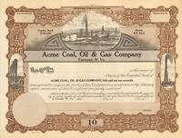 Acme Coal Oil & Gas Company > Fairmont West Virginia stock certificate