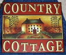 "COUNTRY COTTAGE Rustic Cabin Wood Wall Sign Plaque 9 3/4"" x 8 1/2"" Country Decor"