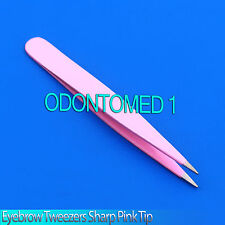"New 3"" Eyebrow Tweezers SHARP Precision Tips COLOR PINK - Solid Classic Design"