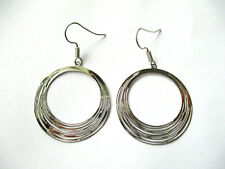 ROUND CIRCLE HOOP SILVER DANGLE EARRINGS. 30MM