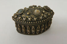 Vintage Ornate Small Silver Oval Trinket Pill Box Multi Colored Stone Agate