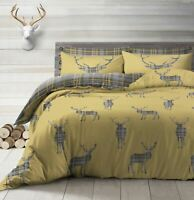 PLAID TARTAN CHECK STAGS OCHRE GREY BEIGE COTTON BLEND SINGLE DUVET COVER