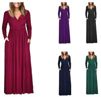Plus Size Women V Neck Long Sleeve Wrap Waist Maxi Long Dress Solid Party Dress