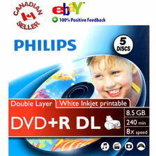 5 Blank Philips DVD+R DL Dual Layer 8X 8.5 GB Discs inkjet printable in sleeves