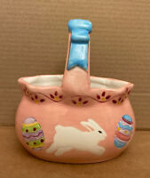 """PINK Ceramic Easter Basket w/Handle Rabbit Spring Decor w/Painted Eggs, 6""""L x6""""H"""