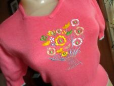 Large True Vtg 70's Womens Hot Pink Embroidered Stretch Knit Hippy Disco Top