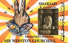 PROMINENT PERSONS SIR WINSTON CHURCHILL SHARJAH AND DEPENDENCIES GOLD LEAF STAMP