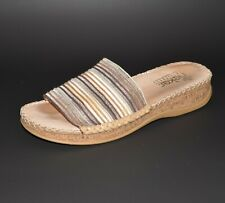 Rieker Slide Sandals Womens 41 - US 10 / 10.5 Beige Striped Slip ons